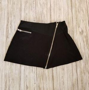 Zara Biker Moto Zipper Mini Skirt Black